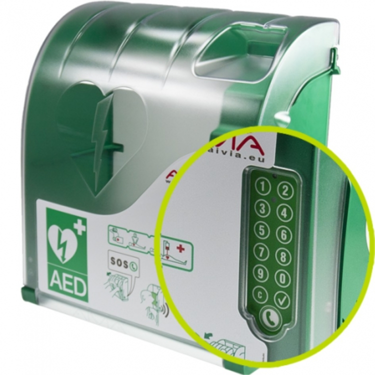 Aed Buiten Wandkast Aivia 230 Met Pin En Alarm En Telefoon
