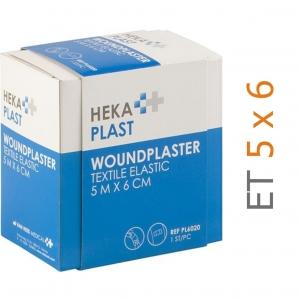 HEKA pleisterrol ET elastische textiel - 5 m x 6 cm - in dispenser